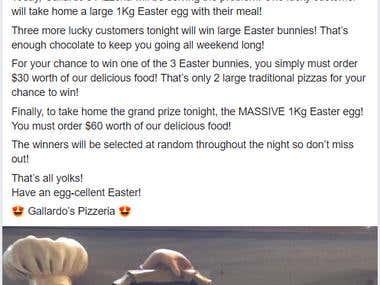 Gallardo's Pizzeria Easter Prize Giveaway Facebook Post