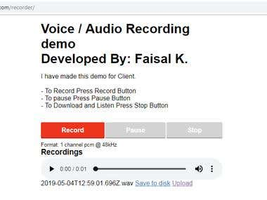 Voice / Audio Recording & Uploading for Transcribing System