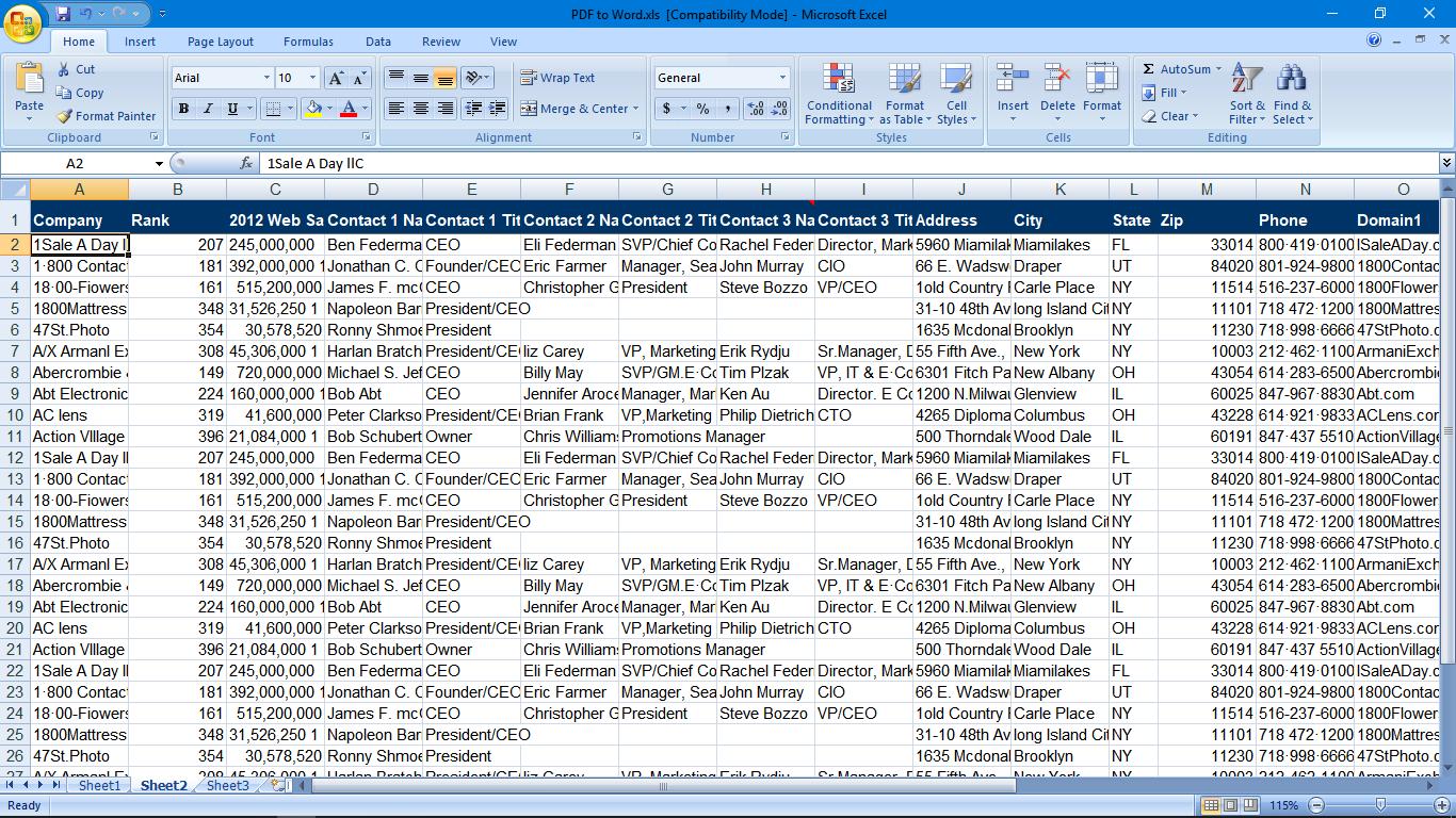 PDF to Excel Sheet