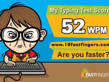 Typing Speed of 52 WPM (10FastFingers.com)