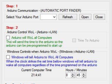 Arduino - Serial  Windows Communication - WoL App.