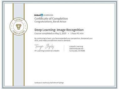 Certification - Deep learning Image Recognition