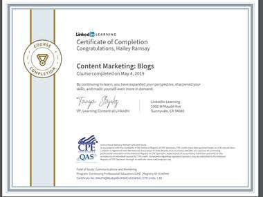 Blogging Certificate