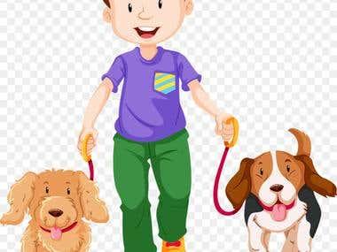 illustration design of boy and dog.