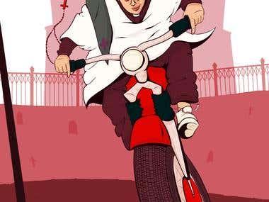 Comic style illustration