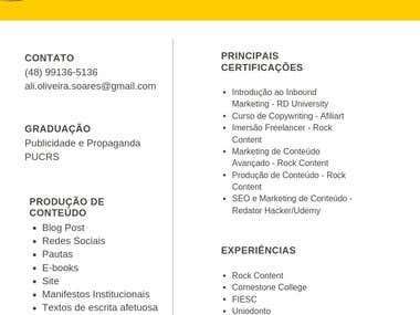 Portfólio + Currículo + Certificações