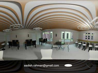 360 Panorama Image of a coffee shop