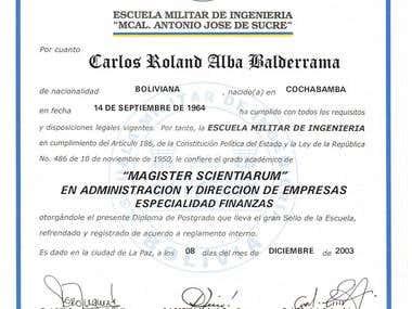 Diploma Magister Scientiarum en Administración de Empresas