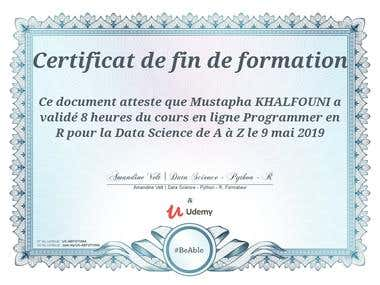 certificate in data science with R
