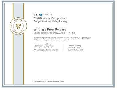Press Release Writing Course Completion Certificate