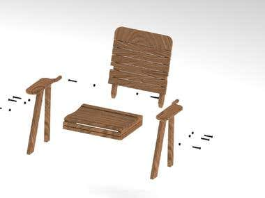 Wooden chair with assembly details.