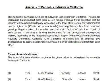 MARKET RESEARCH OF CANNABIS INDUSTRY OF CALIFORNIA