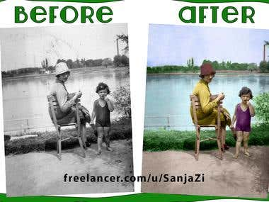 Repairing and colorizing black and white photo