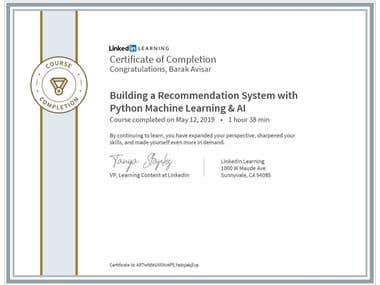 Certification - Recommention systems using Python