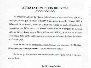 Attestation de fin de cycle d'Ingénieur de Conception