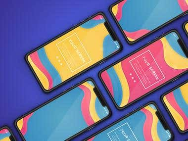 Colorful Phone Mock Up
