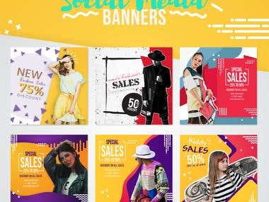 Modern fashion sales social media banner collection