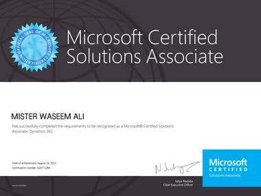 Microsoft® Certified Solutions Associate: Dynamics 365