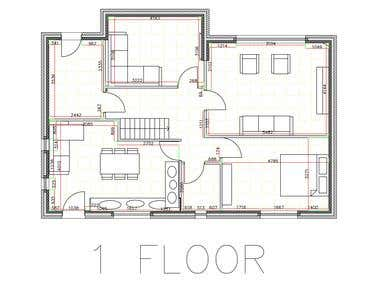 CREATED FLOOR PLAN WITH WALL CAVITY.