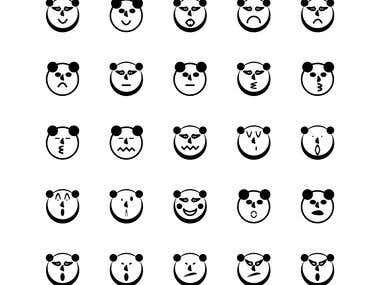 Set Icon Panda Face