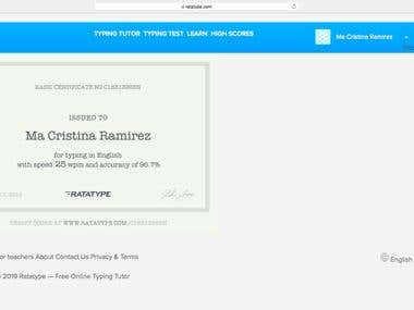 English Typing Certificate