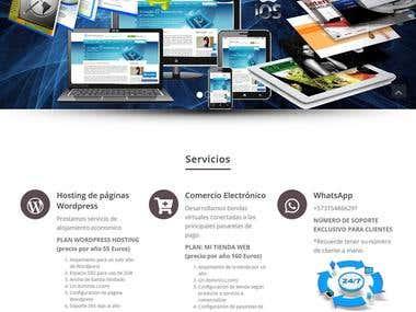 Página de desarrollo web y de hosting para wordpress