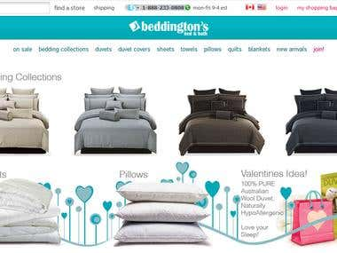 Beddington is an Ecommerce store for luxury bedding