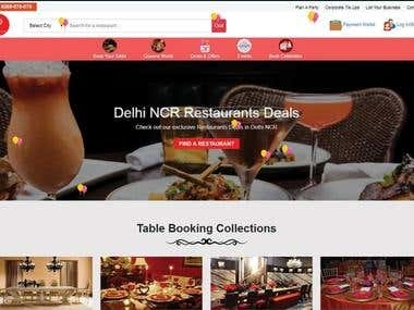 Web Design For Booking Table ON Restaurant
