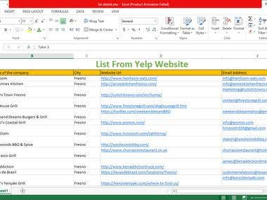 Yelp Excel Data Entry Work