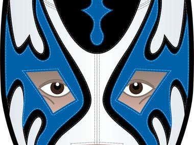 Masked wrestler illustration