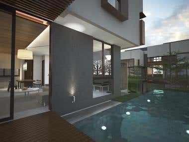 3d visual interior & exterior rumah tinggal