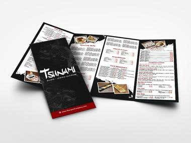 Menu for Japanese food restaurant.