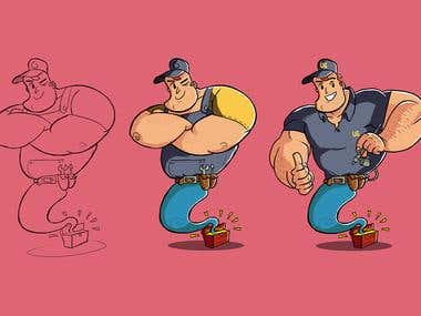 Cartoon Genie Character