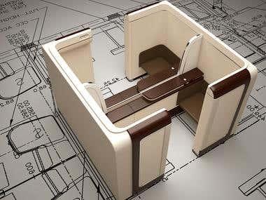 proses modeling interior boing 777 garuda indonesia