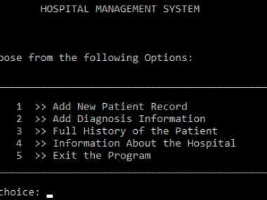Hospital Management System in C++