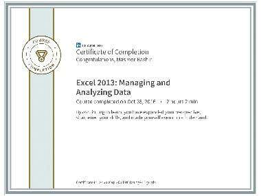 Certified in Microsoft Excel 2013