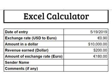 Basic Excel Calculator