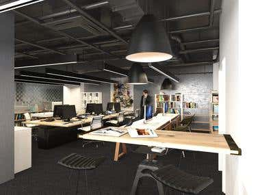 Bank interior design and rendering
