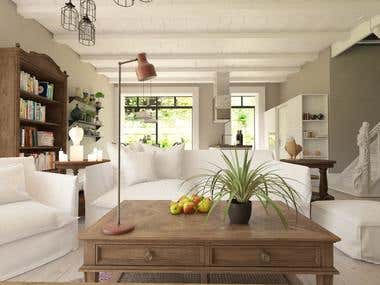 The interior of a French country house in country style