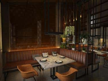 Restaurant in loft style design and visualization