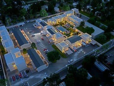 Commercial real estate, duplex exterior render