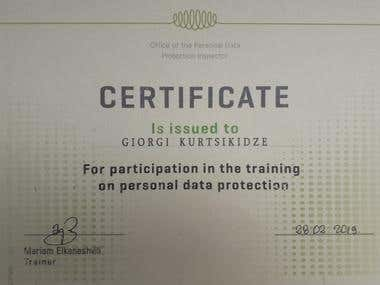 Personal Data Protection Certificate