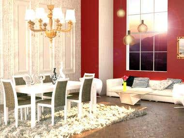 3Dmax Interior Perspective : Dining room