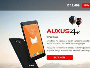 Auxus Mobile company website designed