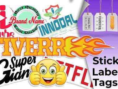 Design die cut sticker, custom sticker, tag and label design