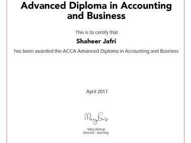 Advance Diploma in Accounting and Business.