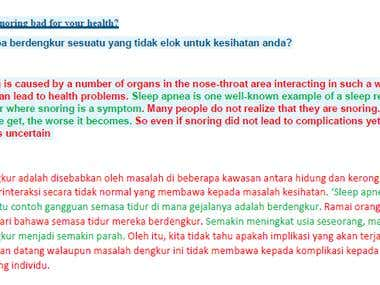 Translation from English to Malay