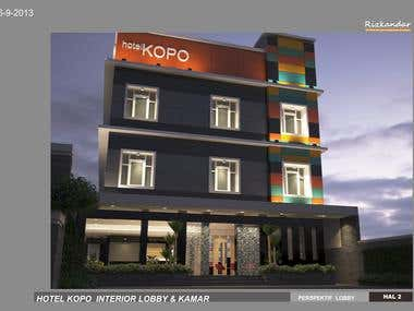 design of Bandung Kopo hotel, exterior and interior