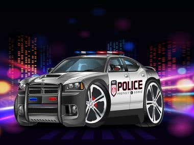 Police car illustartion