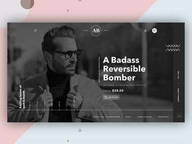 A better man clothing Home page UI